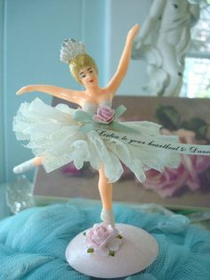 .upcycled ballerina cupcake topper
