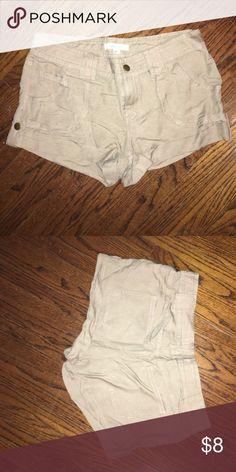Khaki/tan twill shorts Size 28. NEVER WORN! In great condition! Shorts Jean Shorts