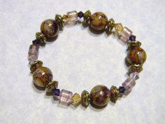 Purple, Lavender & Bronze Art Glass, Fluorite, Cloisonné and Crystal Stretch Bracelet