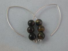 Sterling Silver Dangle Tigers Eye Earrings  Handmade by ZaZing, $45.00