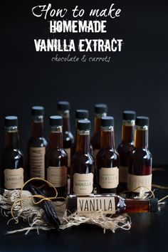 "TIPS | Homemade Vanilla Extract | ""It's always been a mystery to me as to how vanilla extract is made. Mystery no more! It's so easy and makes a great gift. It takes 6+ weeks to sit and relax, so you'll need to get started this week to make it just in time for Christmas!"" ~ Caroline Edwards • Chocolate & Carrots"