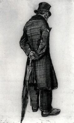 Vincent van Gogh, Orphan Man with Umbrella, Seen from the Back, 1882 on ArtStack #vincent-van-gogh #art