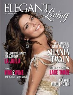 Shania on the cover of the Fall/Winter 2012 Elegant Living magazine
