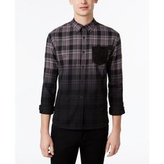 Wht Space by Shaun White Men's Ombre Plaid Flannel Shirt ($23) ❤ liked on Polyvore featuring men's fashion, men's clothing, men's shirts, men's casual shirts, mens flannel shirts, mens ombre shirt, mens plaid shirts and mens white shirts