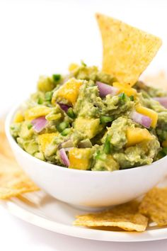 Spicy Mango Guacamole -- made with less than 10 ingredients, it makes the best dip, spread AND toast topper!