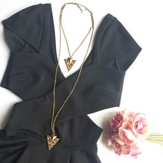 Layered double chain triangle cheetah necklace Worn once !!! Super chic :)     •no trades•no offsite transactions•no low balls•offers considered through the offer feature only!• Jewelry Necklaces