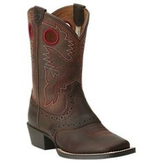 Ariat Roughstock Western Boots for Toddlers or Kids - Brown Oiled Rowdy -