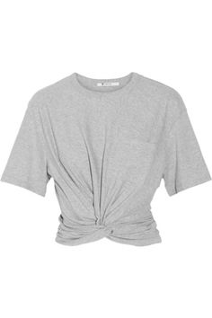 T BY ALEXANDER WANG Cropped Twist-Front Cotton-Jersey T-Shirt. #tbyalexanderwang #cloth #tops
