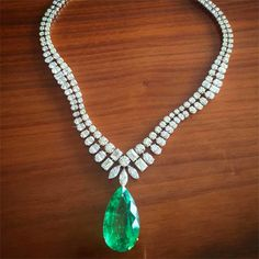 LOVE THAT PEAR SHAPED EMERALD!!!! From the wonderful @kamyenjewellery , this is the kind of necklace I long to wear! Simple in design, yet breathtakingly beautiful!  @kamyenjewellery