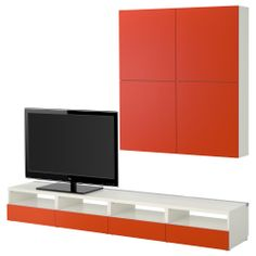 BESTÅ TV storage combination - white/orange - IKEA