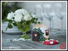 Today we want to show you how a glass jar can become a candle holder looking like a little mushroom house. This glass jar craft idea could be the gift Crafts With Glass Jars, Jar Crafts, Decor Crafts, House Candle Holder, Candle Holders, Painting Glass Jars, Cute Candles, Mushroom House, Dose