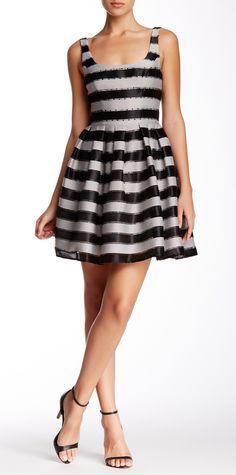 Black & White Striped Sleeveless Dress