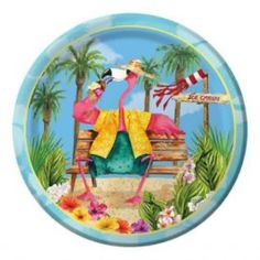 Flamingo Fun Dessert Plate -  Party Supplies, Ideas, Accessories, Decorations, Games - PartyNet
