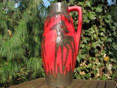Large Fat Lava Floor Vase Scheurich 270 53 – 1960s Mid Century Design – Red & Black Horses -XXL vintage German Modernist pottery – Brutalist von everglaze auf Etsy