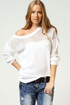 Olivia Meshed Up Knit Jumper at boohoo.com