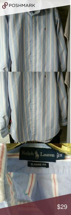 Ralph Lauren Classic Fit size medium shirt Ralph Lauren Classic Fit,size Medium button up,new,no tags made in India,powder blue and red pin stripes color of a candy cane,pet free,smoke free Ralph Lauren Shirts Dress Shirts