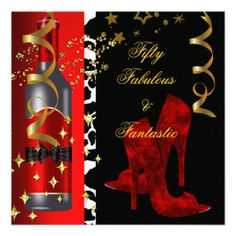 50 amp Fantastic Red Dress Black Gold Birthday Party Custom Invitations