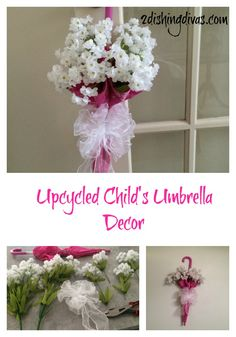 Here's a twist on the traditional umbrella floral decor you may have seen.  It's made with a child's umbrella, and it's displayed on an interior, not exterior, door.  Try it today!