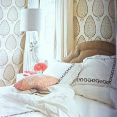 Katie Ridder leaf wallpaper | Betsy Burnham, House Beautiful's June 2012 issue.