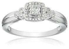 10k White Gold Diamond Engagement Ring (1/4 cttw, I-J Color, I2-I3 Clarity), Size 6