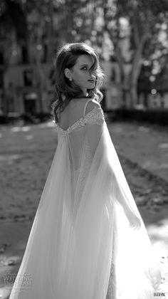 berta fall 2016 bridal spagetti strap deep v neckline beautiful sheath wedding dress with cape