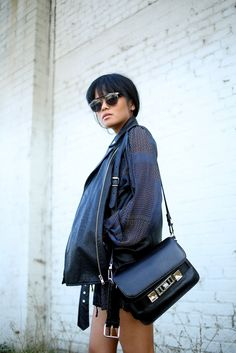 Olivia Lopez | Fashion | City | Black | Leather | Sunglasses | Bag