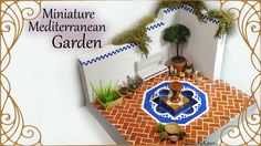 Miniature Mediterranean inspired Garden (w/ Fountain ) - Polymer Clay / Mixed Media Tutorial Polymer Clay Miniatures, Dollhouse Miniatures, Diy Arts And Crafts, Fun Crafts, Minis, Fairy Garden Doors, Mixed Media Tutorials, Dollhouse Accessories, Diy Doll