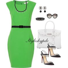 Kelly Green , Black And White Are Fabulous Together !!! by stylesbypdc on Polyvore featuring polyvore, fashion, style, French Connection, Christian Louboutin, Hermès, Chanel, Marni and Prada