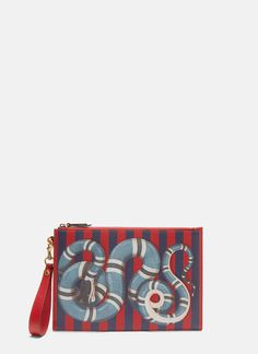 GUCCI GUCCI BLUE SNAKE STIPIES POUCH. #gucci # Gucci Gucci, Gucci Men, Red Pattern, Snake Print, Blue Stripes, Red And Blue, Pouch, Navy, Logo