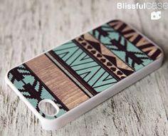 iphone 4 case geometric art on wood print mint by BlissfulCASE