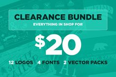 12 Logos 4 Fonts 2 Vector Packs all for $20! Get it on Creative Market!