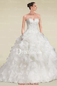 Demure Sweetheart Neckline Ball Gown Wedding Dress with Appliques and Cascading Ruffles