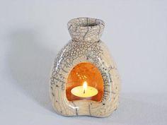 O-ZEN marvel / white - ceramic Raku fired, handmade, essential oil burner / oil warmer / oil diffuser, one of a kind O-ZEN marvel / white ceramic Raku fired essential oil burner