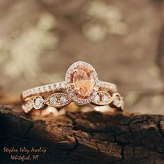 Who doesn't love Peach Montana Sapphires?!   Featuring: 14k Rose Gold Engagement…