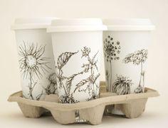 Beautiful Botanical Drawings on White Ceramic Eco Friendly Travel Mugs - Yevgenia, Etsy