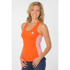 Clemson Tigers Floral Lace Tank, get it at TotallyCollegiate.com!