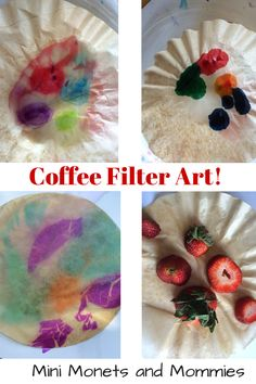 Coffee filter art exploration - with markers, food colors, paints and tissue!