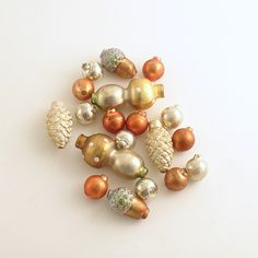 Glass Beads Mushrooms Acorns Pinecones by efinegifts on Etsy