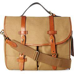 RALPH LAUREN Canvas and leather messenger bag (Highland khaki