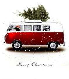 #VW van #Christmas dog #Photography Bringing home the Christmas tree