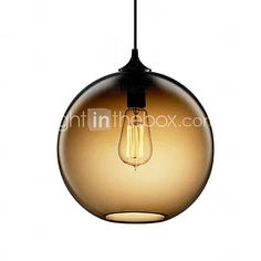 60W Modern Glass Pendant Light in Round Brown Bubble Design (knockoff)