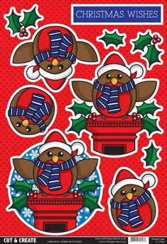 Buzzcraft Christmas Cut & Create - Robin on Postbox Christmas Sheets, Christmas Clipart, Christmas Paper, Christmas Printables, Christmas Projects, Free Cards, 3d Cards, Xmas Cards, Art Deco Cards