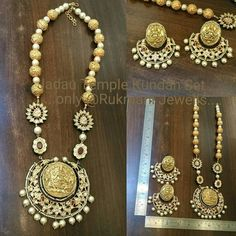 Eternally ethnic Jadau Temple Lakshmi Kundan Set with earrings only @ Rukmani Jewells.... Traditional...wear this with any of your traditional outfit....not colour bound... Silver based with high gold micron plating never loses its golden lusture. For more details please call or whats app on 91-9327027130 or e-mail : rukmani36@hotmail.com #meenakari #bikaneri #jewellery #jewelry #statementnecklace #fine #high #highsociety #classic #beadedjewelry #indianbrides #traditional #indiantraditional…