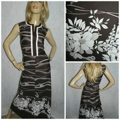 Vintage 70s Brown/cream GEOMETRIC FLOWER POWER print maxi dress 18 L Xl Semi sheer Iconic 1970s Kitsch Psychedelic by HoneychildLoves on Etsy
