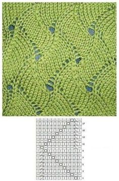 Strickmuster – Awesome Knitting Ideas and Newest Knitting Models Lace Knitting Stitches, Lace Knitting Patterns, Knitting Charts, Lace Patterns, Free Knitting, Stitch Patterns, Knitting Needles, Diy Crafts Knitting, Loom Patterns