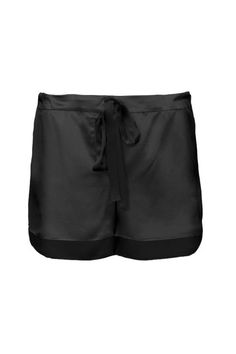 These relaxed fitting silk charmeuse shorts give just the right touch of body skimming and skin bearing with a delicate drawstring tie and organic mother of pearl buttons. 100% Silk Charmeuse. Dry Clean. Made in NYC.    Color: Black Maya Silk Short by Maison de Papillon. Clothing - Lingerie & Sleepwear - Sleepwear California