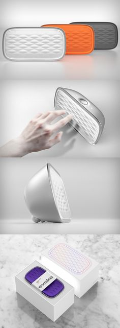 The 'Evoke' is one of the most pleasant looking wireless speakers, it's product experience relies on hand proximity in an unusually beautiful way... READ MORE at Yanko Design !