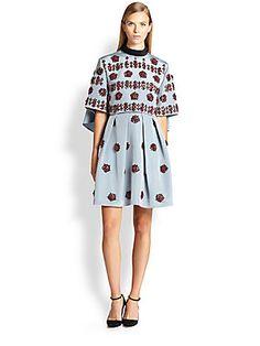 Erdem Beaded Silk Cape-Back Dress