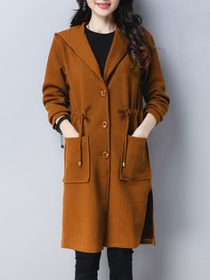 #Hooded Drawstring Patch Pocket Single Breasted Plain #Coat