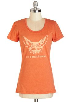 I'm All Ears Tee. Whenever a friend is in need of a confidante, youre happy to play the part - and so is the friendly, big-eared fennec fox on your orange T-shirt! #orange #modcloth